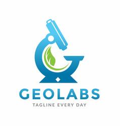 Plants lab logo design template vector