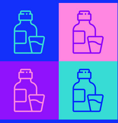 Pop art line bottle medicine syrup and dose vector
