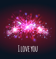 postcard with colorful bright fireworks of hearts vector image