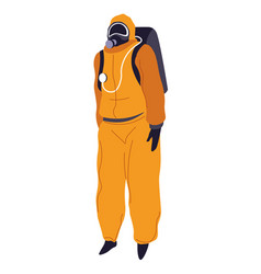 protective costume with mask hazmat suit vector image