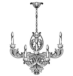 Rich baroque classic chandelier luxury decor vector