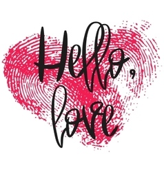 Romantic poster with hand lettering and heart vector image