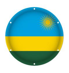 round metallic flag of rwanda with screw holes vector image