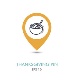 salad bowl mapping pin icon harvest thanksgiving vector image