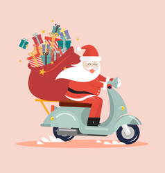Santa claus with a gift sack riding a scooter vector