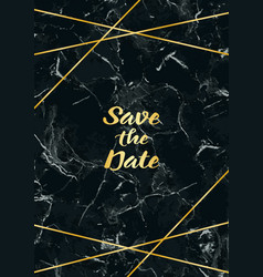 save thr date card with gold geometric frame vector image