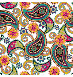seamless paisley backgroundcolorful flowers vector image