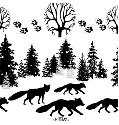 Seamless pattern with fox and trees vector