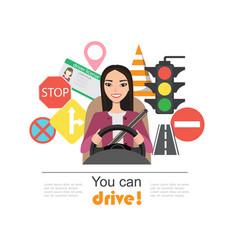Set of road symbols and asian woman driver vector