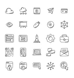 set of seo and marketing doodle icons vector image