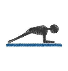 silhouette guy exercising fitness sport vector image