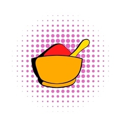 Spice in ceramic bowl icon comics style vector image