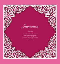 Square frame with lace border ornament vector