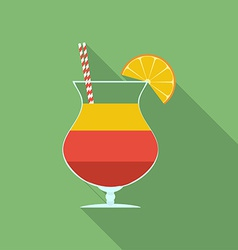 Summer cocktail icon Modern Flat style with a long vector image