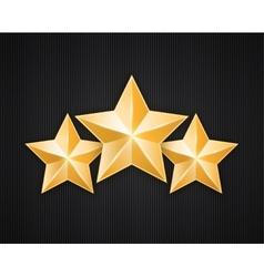 Three golden star on black textured background vector