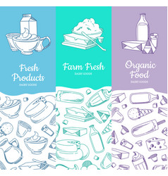 Vertical banners with sketched dairy goods vector
