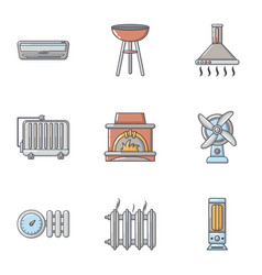 Warmth icons set cartoon style vector
