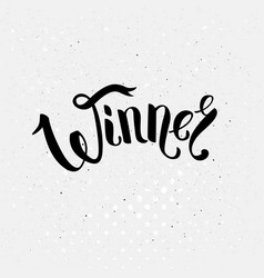 Winner text in ribbon style font over white vector