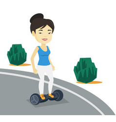 woman riding on self-balancing electric scooter vector image