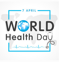 World health day map lettering banner vector