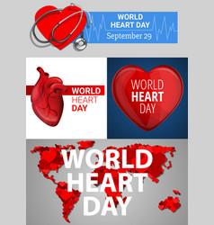 world heart day banner set cartoon style vector image