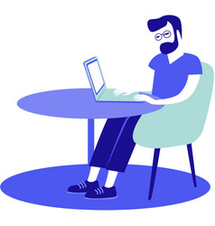 young man sitting at his desk using laptop vector image