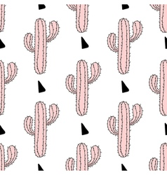 Zentangle pink cactus seamless pattern cacti Hand vector image
