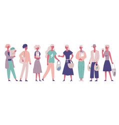 zero waste characters carrying eco shopping vector image