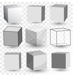 cube realistic set transparent glass block model vector image vector image