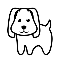 dog little pet domestic outline vector image vector image