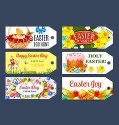 easter egg hunt gift tag and label set design vector image vector image