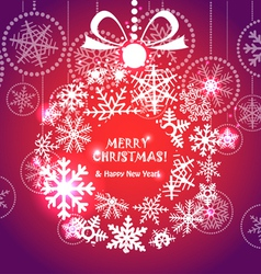 Red Christmas greeting card vector image vector image