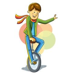 unicycle boy vector image vector image