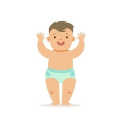 Boy standing with hands up adorable smiling baby vector