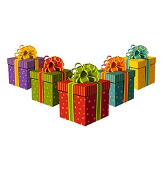 Colorful gift boxes vector image vector image