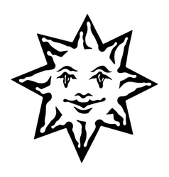 Emblem of sun Black and white solar sign vector image vector image