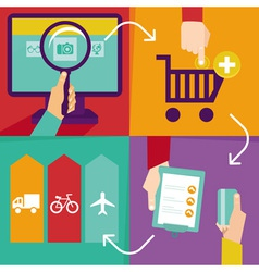 internet shopping infographics - process of purcha vector image vector image