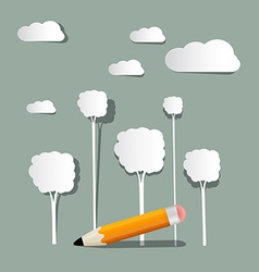 Paper Trees and Clouds with Pencil vector image vector image