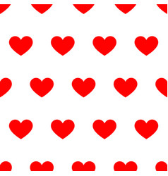 seamless pattern from red heart on white vector image vector image