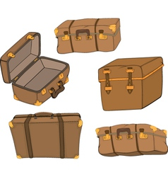 The complete set of old suitcases vector image vector image