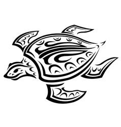 Underwater turtle in tribal style vector