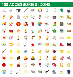 100 accessories icons set cartoon style vector image vector image