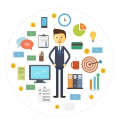 collection business icons with businessman vector image