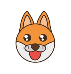 cute fox face kawaii style vector image