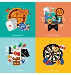 Gambling games 4 flat icons square vector image