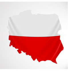 poland flag in form of map republic of poland vector image