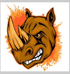 Rhino athletic design complete with rhinoceros vector