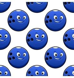 Seamless cartoon blue bowling ball characters vector image
