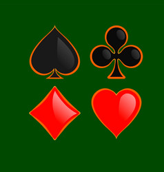set of shiny playing card suitswith gold outline vector image vector image