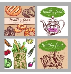 Sketch Healthy Food Icon Set vector image